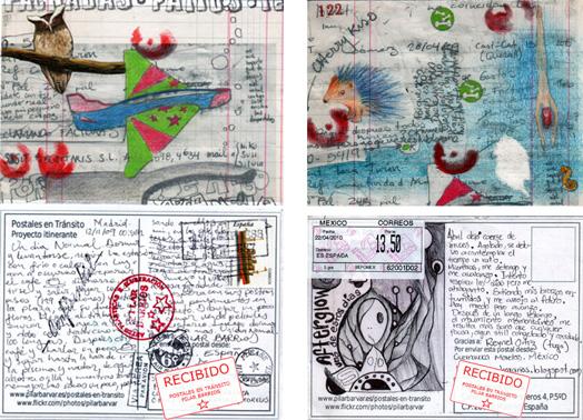 Dos postales: Izq-Postal con Buho y avion Der-Postal con puercoespin y nadador