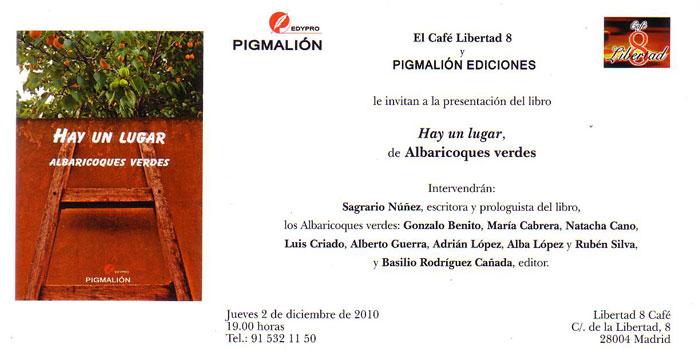 Invitación lanzamiento libro HAY UN LUGAR