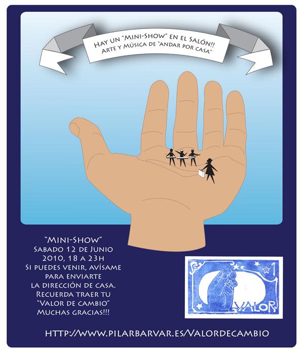 cartel minishow evento en casa Pilar Barrios