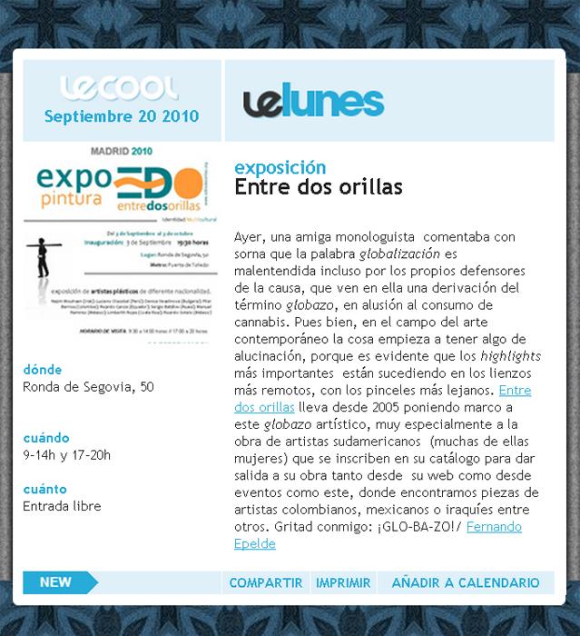Note de prensa sobre expo en LeCool Magazine
