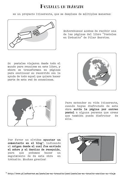 Instrucciones de envío paginas del libro Postales en tránsito