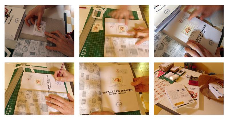 Foto Documentación encarte (sello postal) en libro POSTALES EN TRÁNSITO
