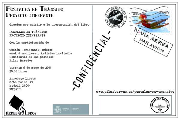 Postal promocional presentacion libro POSTALES EN TRANSITO reverso