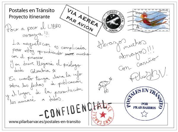 reverso postal con sellos y texto sobre Postales en Tránsito