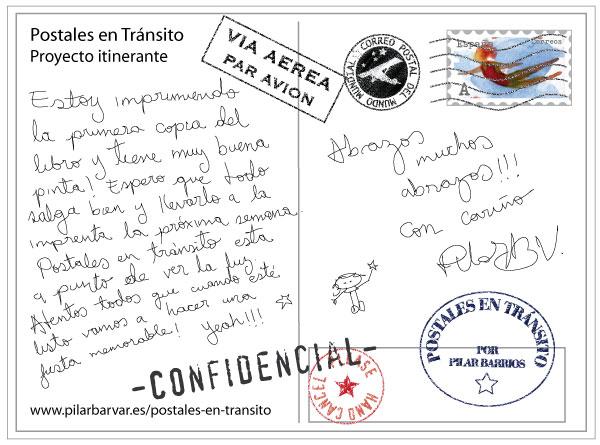 Reverso postal promocional proyecto Postales en tránsito