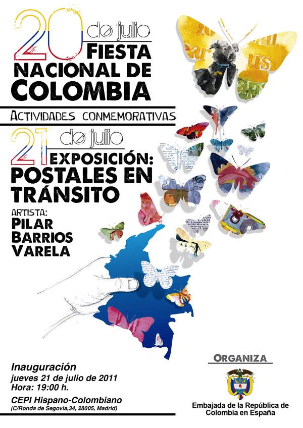 Cartel promocional Expo Postales Centro Colombo Hispano