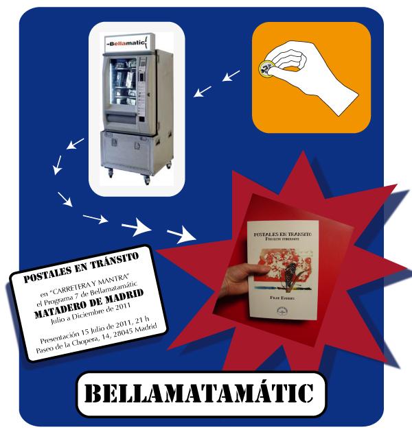 Cartel Promo Libro Postales en Tránsito en Bellamatamátic