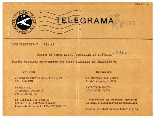 Telegrama puntos de venta libro Postales en transito