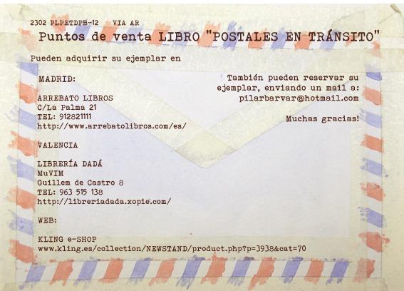 Direcciones de iibrerías que venden libro Postales en Tránsito