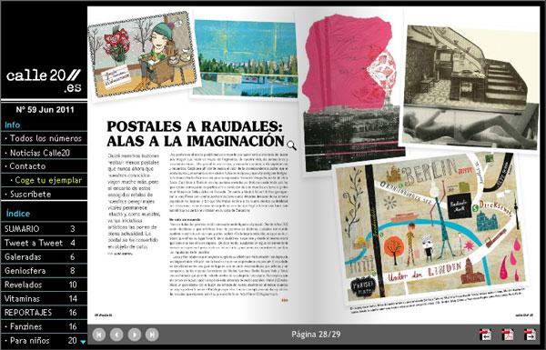 imagen del reportaje sobre Postales en revista CALLE 20