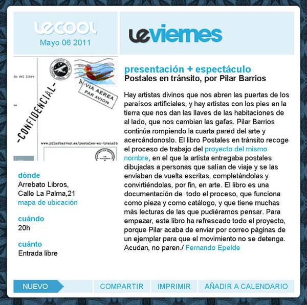 Imagen de la reseña de presentacion libro Postales en tránsito en revista Le Cool