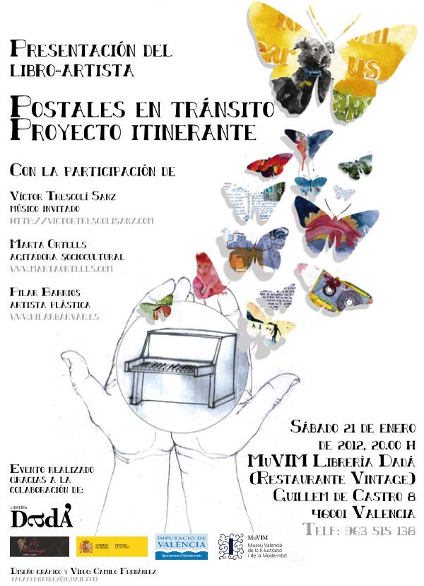 Cartel presentación en Libreria Dadá del Libro Artista Postales en Transito