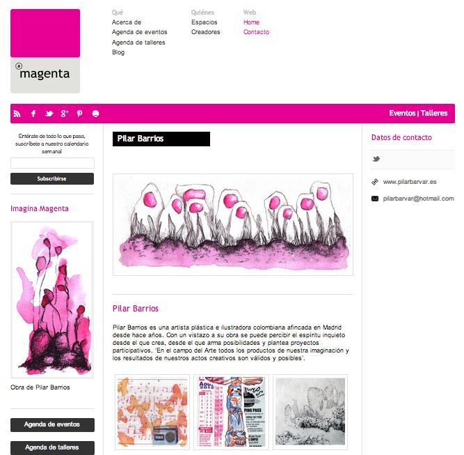 Obra de Pilar Barrios en Web de Agenda Magenta