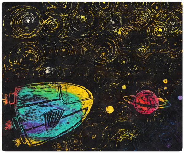 Dibujo esgrafiado espacio-nave-estrellas por Pilar Barrios