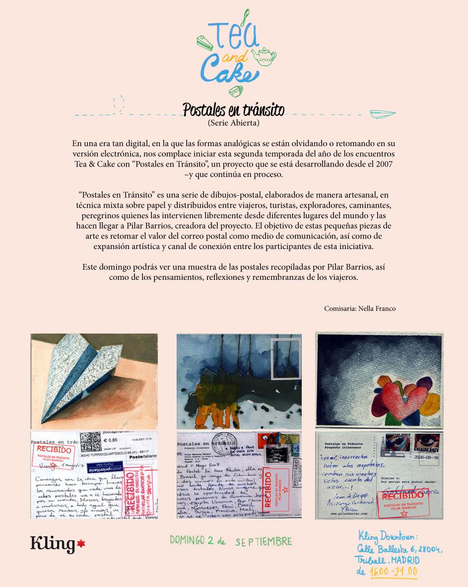 Cartel expo Postales en transito en KLING - reverso